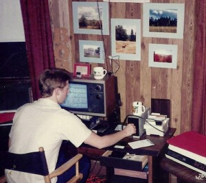 Portrait of the geek as a young man: Author Robert Gillis hard at work writing, 1985.