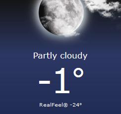 Foxboro temperature 2/15/2015 at 10:30PM - Wind Chill 24 below zero! (accuweather.com graphic)