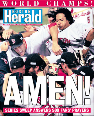 Boston Red Sox Win The 2004 World Series  - Boston Herald photo