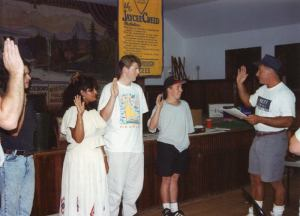 July 1993: Tom swears in Bob and Sue and other new members