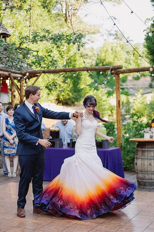 Robe de mariée colorée longue romantique