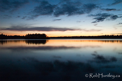 The islands at dusk on Black Lake near Perth, Ontario.