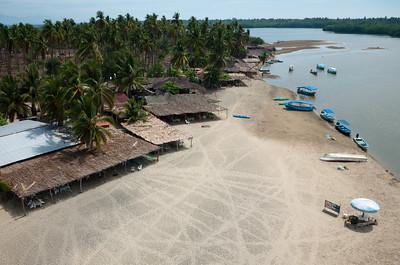 Aerial photograph. The lagoon at Barra de Potosi, Mexico.