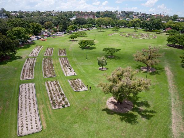 Aerial photograph of the gardens at New Farm Park, Brisbane, Queensland, Australia.