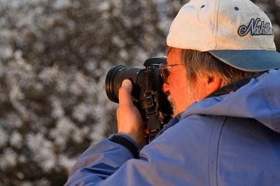 Photographer Rob Huntley and magnolias in the arboretum