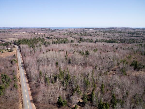 Aerial view of a road through the countryside near Tatamagouche, Nova Scotia.