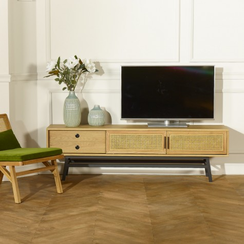 meuble tv cannage chene 2 portes cannees 2 tiroirs lalala