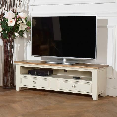 meuble tv en bois 2 tiroirs et 1 niche archer