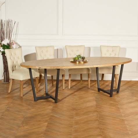 grande table ovale bois et metal jackson