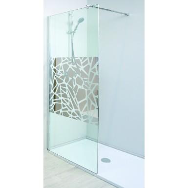 paroi de douche italienne terra 090 avec vitre serigraphiee et moderne