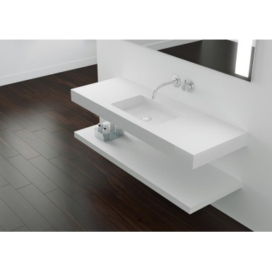 Plan Vasque Mural Blanc Mat Soho Solid Surface A Suspendre Robinet Co