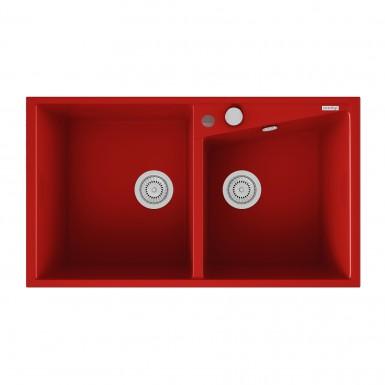 Evier Encastrer Meuble 90 Cm 2 Bacs Rouge RobinetampCo
