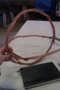 The very beginning: two willow hoops form the frame of the basket