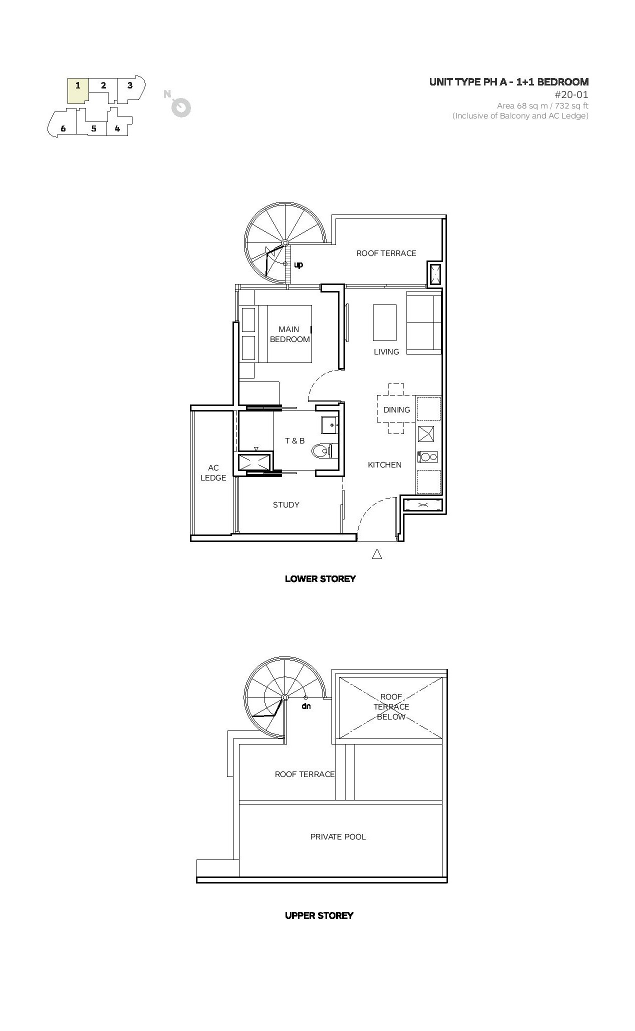 Robin Suites 1 Bedroom Type PH A Penthouse Floor Plans