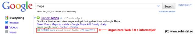 Google dă semne de organizare și procesare Web 3.0 a informației
