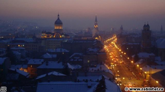 Vedere din Cluj, pe înserat și ger