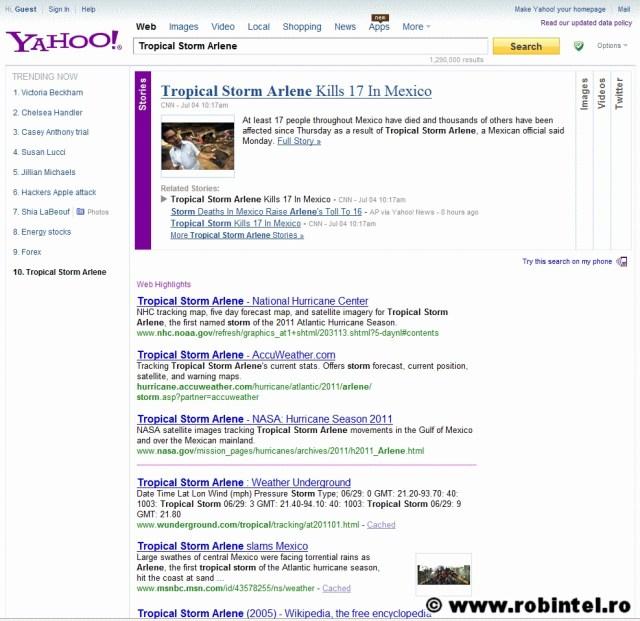 Căutarea știrilor pe Yahoo! cu taburile de sortare a surselor și tipurilor de informație