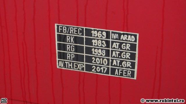 Vagon CFR fabricat la IVA Arad în 1969 și recondiționat în 1983, 199 și 2010 la Atelierele Grivița