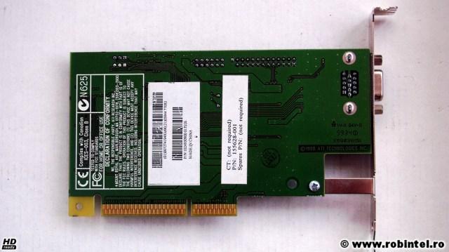 Placa video AMC ATI Rage IIc pe AGP 2X cu 4 MB SDRAM, vedere pe verso