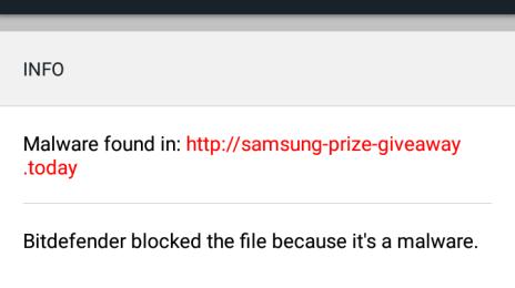 Bitdefender Box 2 a blocat un URL de phishing