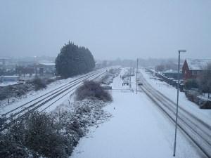 Snow on a rail line