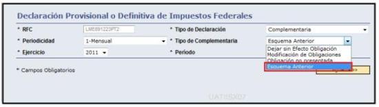 Declaraciones complementarias esquema anterior, pago referenciado,