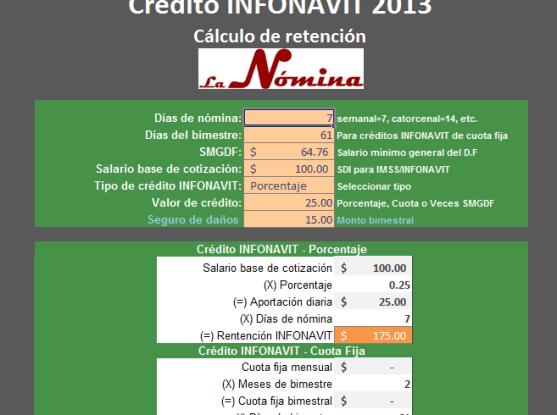 calculo de retencion de credito infonavit 2013