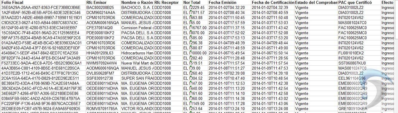 exportar tabla a excel cfdi tools