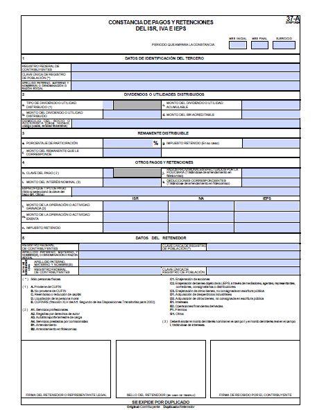 formato 37-A editable 2013 constancia de retenciones de isr iva y ieps