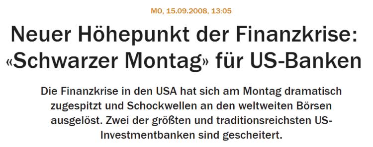 Finanzkrise 2008 - schwarzer Montag - Lehman Pleite