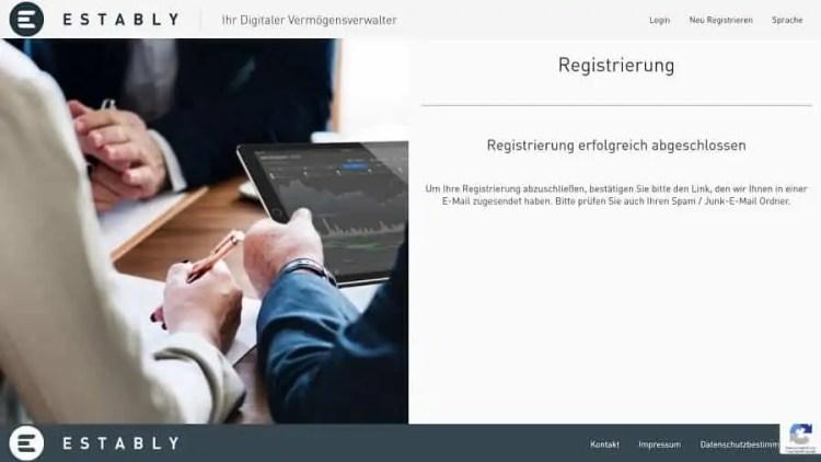 Estably Testbericht - Abschluss Registrierung Onboarding