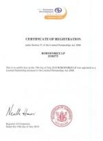 ROBOFOREX LP certificate of registration number is 2538375