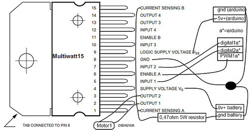 l298 motor driver ic pin diagram