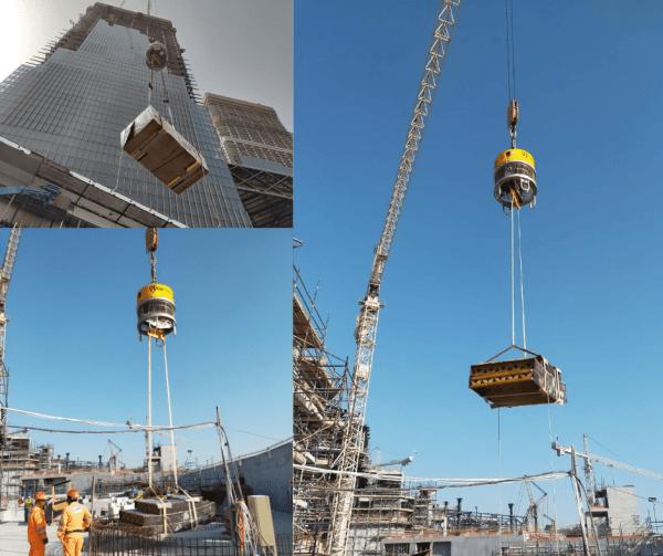Roborigger crane load control and orientation device on Alec One Zaabeel site