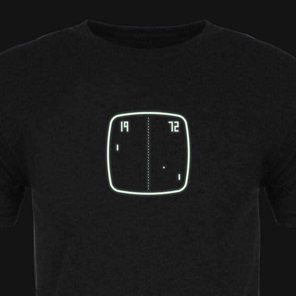 Pong Premium Tee Shirt :: Cropped :: Glow :: ARCADE VISIONS Series :: Robots And Rocketships