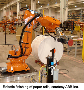 Robotic finishing of paper rolls, courtesy ABB Inc.