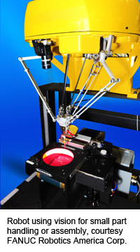 Robot using vision for small part handling or assembly, courtesy FANUC Robotics America Corp.