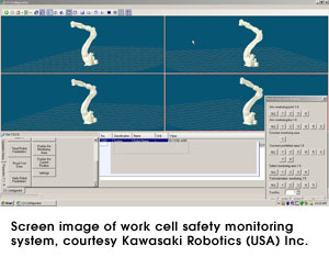 Screen image of work cell safety monitoring system, courtesy Kawasaki Robotics (USA) Inc.