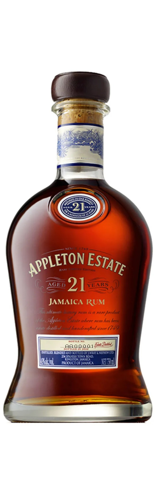 Appleton Estate 21 year old luxury aged rum from Jamaica, bottled at 43% abv.