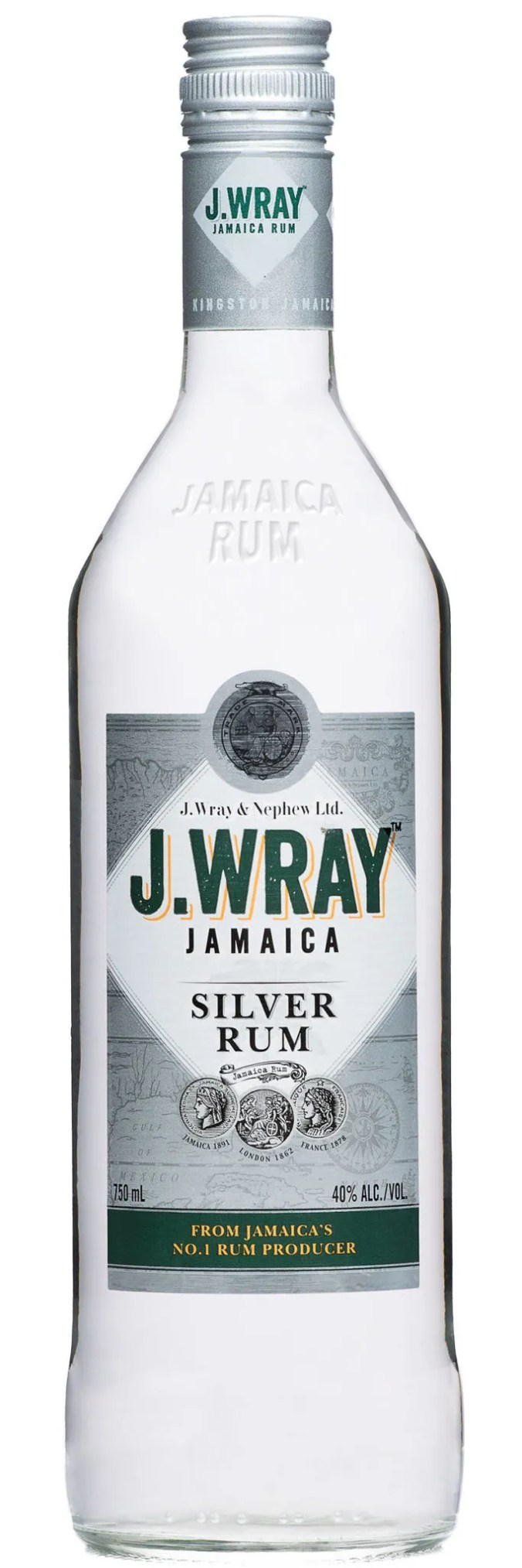 J.Wray Jamaica Rum Silver is a white rum that's aged and filtered slowly through special charcoal filters.