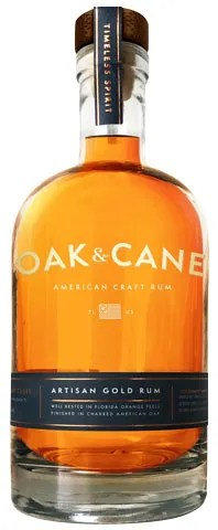 Oak And Cane rum from Fort Lauderdale, Florida rests in orange peels