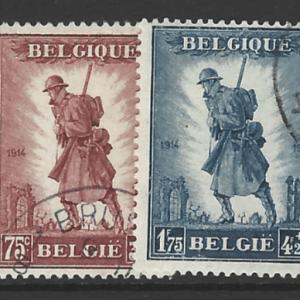 Belgium SG 618-9, the 1932 Infantry Memorial set, fine used.