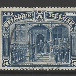Belgium SG 193, the 1915 King Albert at Furnes 5 FRANKEN, fine used