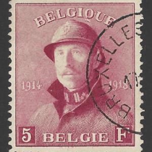 "Belgium SG 249, the 1919-20 King Albert ""Tin Hat"" 5 francs, fine used,"
