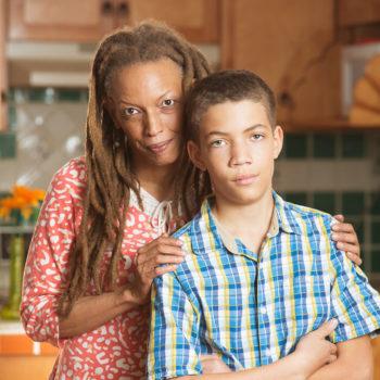 Concerned parent & teenage son