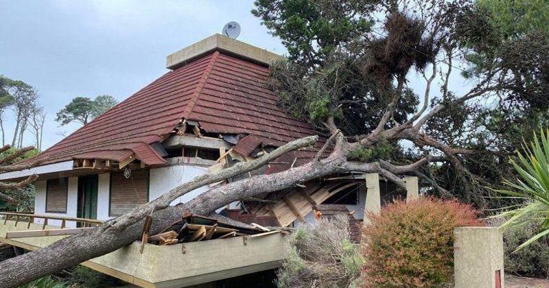 Una cola de tornado pasó por Pinamar y causó destrozos