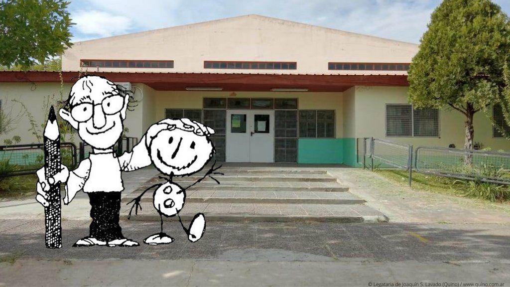 Quino vivirá para siempre en una pequeña escuela de la Patagonia