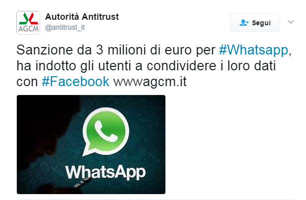 WhatsApp, sanzione, agcm, antitrust, multa WhatsApp,
