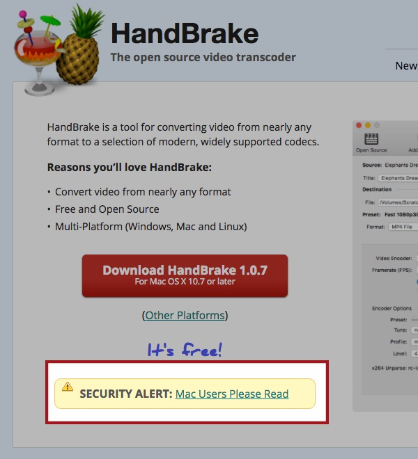HandBrake, Malware, Mac, Apple,