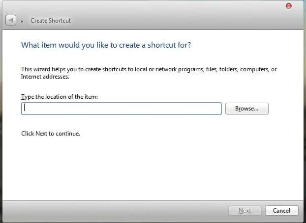 Run a Command Prompt command from Desktop Shortcut Create Shortcut